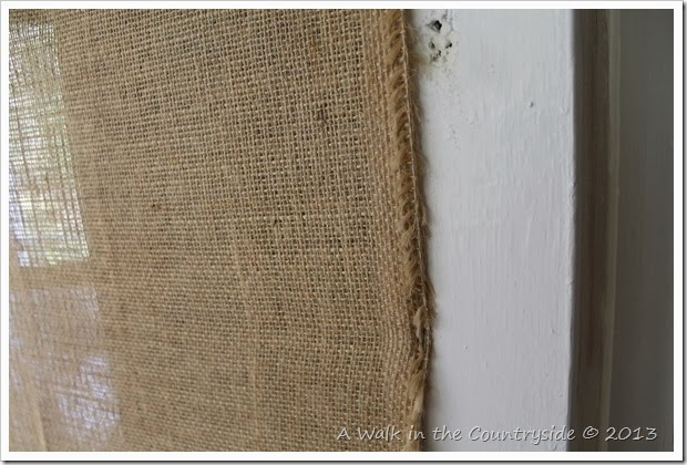 putting burlap on a screen door
