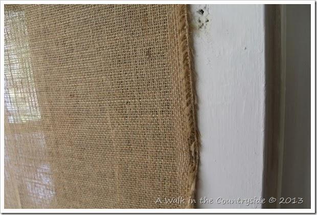 putting burlap on a screen door