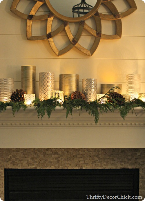 Christmas mantel with Goodwill glass