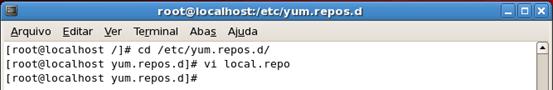 Criação do arquivo de configuração do repositorio