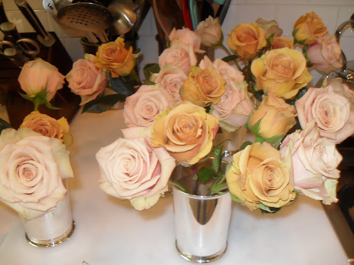 When you first cut roses, be sure to cut them under running water, that way they won't suck in air. If they suck in air it will block the water from reaching the actual bloom.
