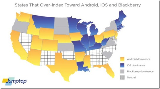 comparisson map Android vs iPhone in the US