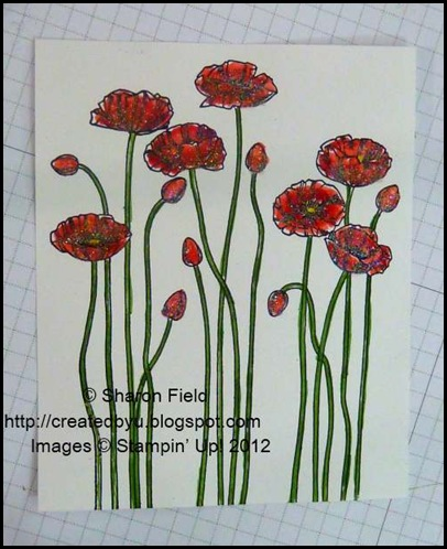 color in the poppy stems with gumball green