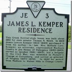 James L. Kemper Residence, marker JE-3 in Madison, VA