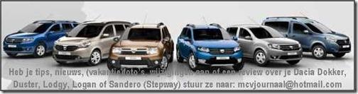 Alle Dacia modellen op De Dacia Site van Nederland en België