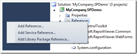Adding a reference to Microsoft SharePoint to the class library project of a SharePoint Factory project