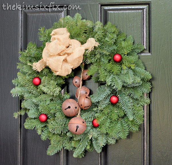 Burlap and bell wreath