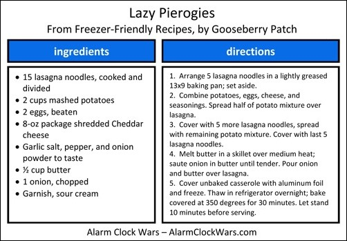 lazy pierogies recipe card