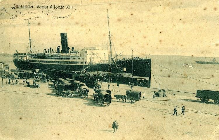 Vapor ALFONSO XIII. Puerto de Santander. POSTAL.JPG