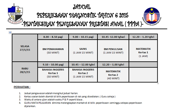 jadual dianostik thn 6