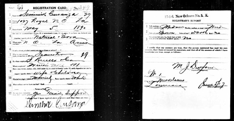 World War I Draft Registration Cards for Dominic Cusanza (b. 1890)