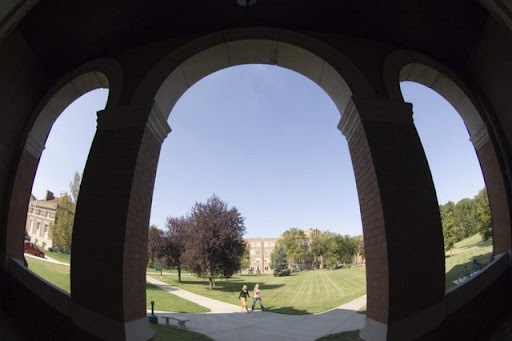 Student features on the first day of class, Babcock Hall arches