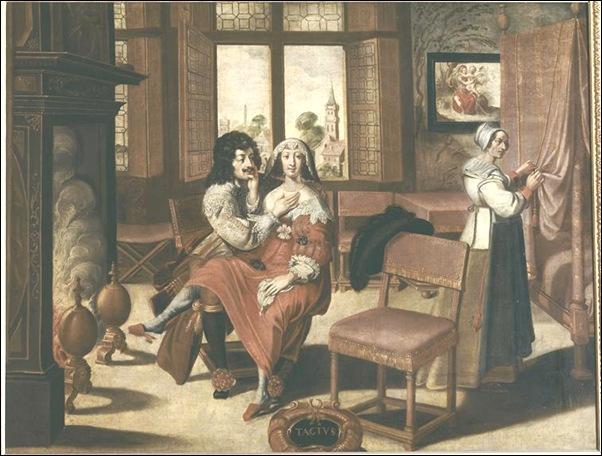Bosse Abraham (d'après) - le toucher (suite des 5 sens) - 17e siècle - huile sur toile - 1,04 x 1,37 m - Tours, Musée des beaux-arts