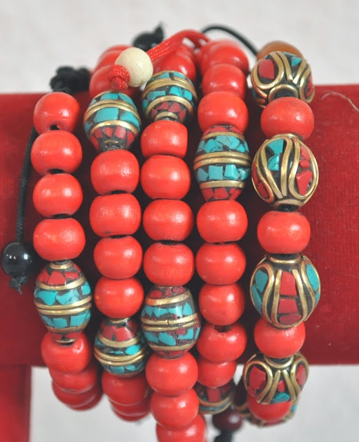 Metal Bead Bracelets with wooden beads