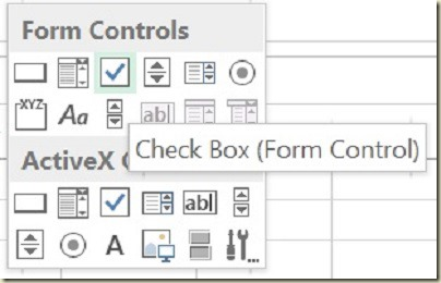 Form Controls in Excel - Check Box Form Control