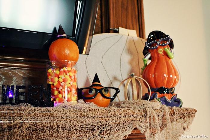 Witch Pumpkin Halloween Mantle