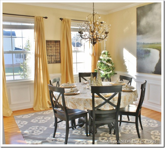 Yellow and grey dining room