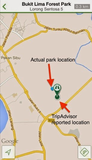 Where is Bukit Lima Forest Park? A slight disagreement between the TripAdvisor reported location and the actual location.