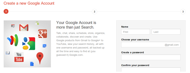 Nova tela de cadastro do Google
