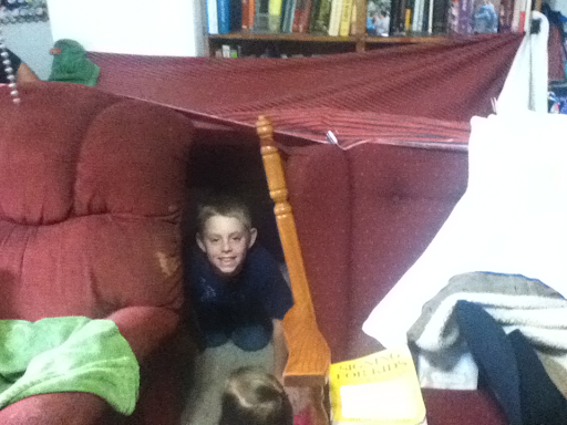 Happy nephew in the fort