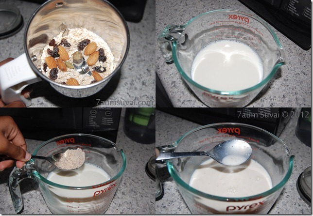 Oats almond raisin milk process
