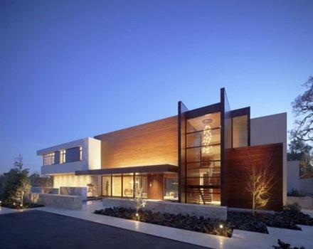 casa oz fachada contempor nea con madera caoba