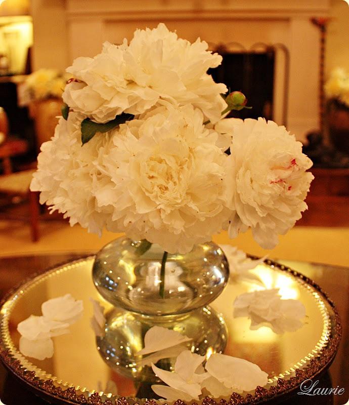 peonies white & vase