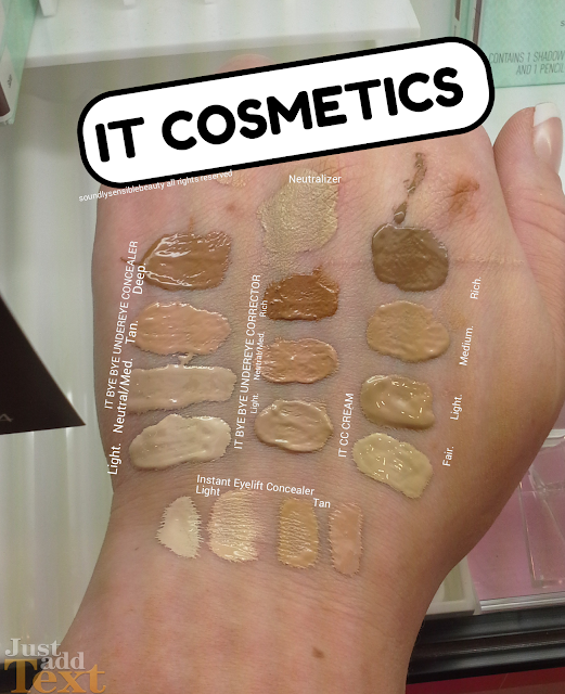 It Concealer & Correcter; Bye Bye Under Eye Concealer & Corrector Review & Swatches of SHades Light, Medium, Tan, Deep