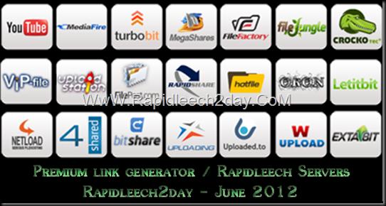 List of Free/Public Rapidleech Servers/Premium link generator June 2012 - Letitbit, Bitshare, Crocko, Freakshare, turbobit, Rapidgator, FileFactory, Hotfile, Rapidshare