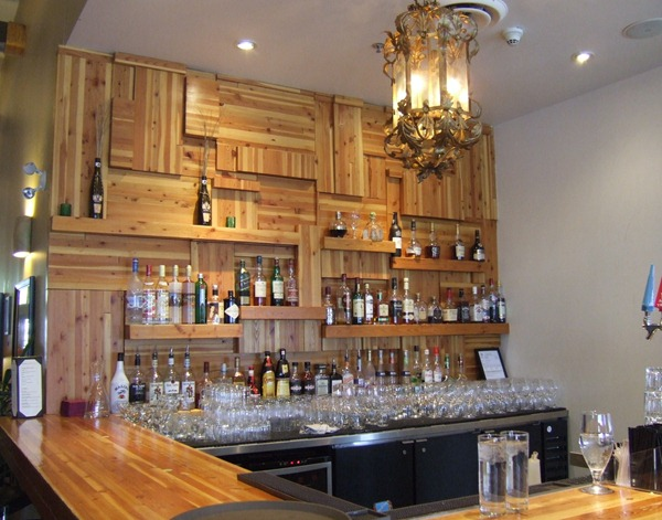 Layered cedar bar wall (Mica Restaurant via Little Victorian)