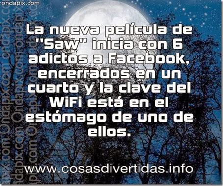 La nueva película de  Saw  inicia con 6 adictos a Facebook, encerrados en un cuarto y la clave del WiFi está en el estómago de uno de ellos.