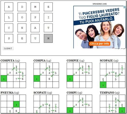 W-solver.com scrivere lettere partita Ruzzle per anagrammarle in automatico
