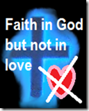 blue glowing cross - faith but not in love