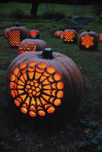 postcard of Celtic pumpkins