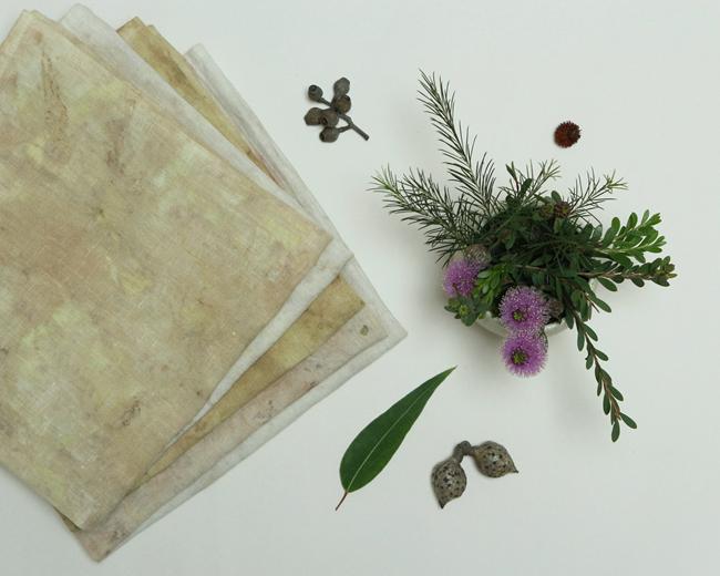 Modern Australiana botanical dyed linen tea towel by Alchemy 3