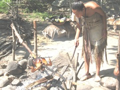 Plimoth Plant indian cook area woman cooking bird