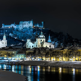 Salzburg at night by Pavle Peric - City,  Street & Park  Historic Districts ( salzach, salzburg, winter, night photography, austra, snow, nikon d5200, castle, architecture, landscape, historic, city )