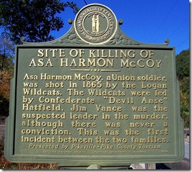 Killing Of Asa Harmon McCoy marker in Pike County, KY