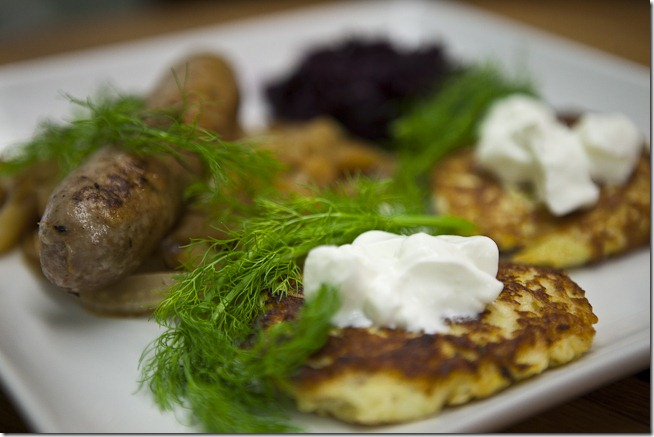Fennel Sausage Turnip Latke Red Cabbage-5
