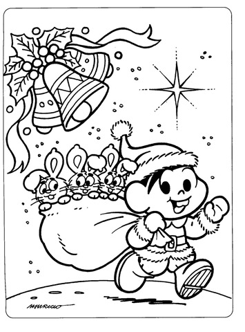 monica saco de presentes,monica desenho natal,desenho para imprimir e colorir natal,turma da monica