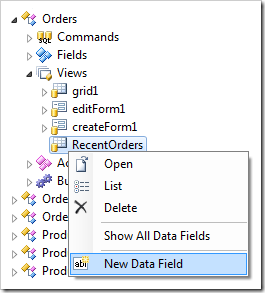 Create New Data Field for 'RecentOrders' view of Orders controller.