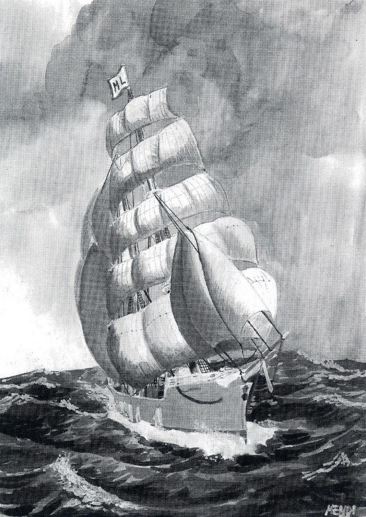 El buque navegando por el Atlántico Norte. Visto por D. Juan Ignacio Mendizabal. Del libro EL BERGANTIN GOLETA SAN IGNACIO DE LOYOLA.JPG
