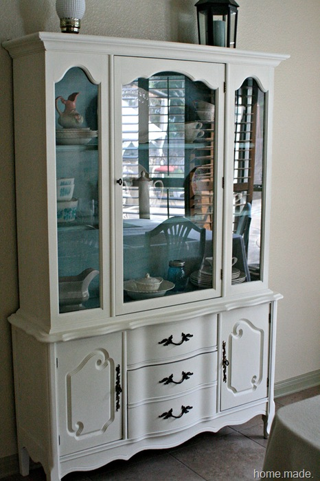 White and Aqua French Hutch