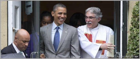 "President Obama emerges from Easter service with Rev. Luis Leon (R). Proving the adage that ""the truth hurts,"" the collective of Right Wing panties were in a twist today over the sermon given by Leon. CLICK for full coverage from The Huffington Post."