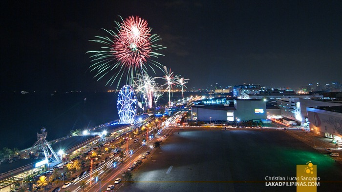 Mall of Asia's Fireworks Seen from the Roofdeck of Microtel