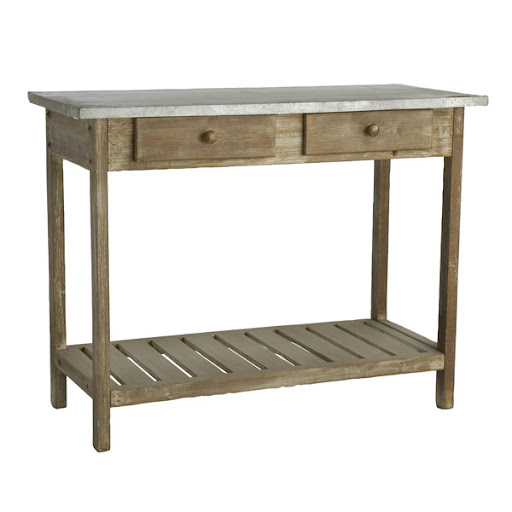 Rustic, industrial chic for the foyer. Not to mention handy drawers for notepads, pens, and your dog's leash. (wisteria.com)