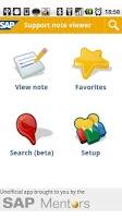 Screenshot of SAP support note viewer