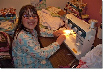 Mikayla sews 1st time