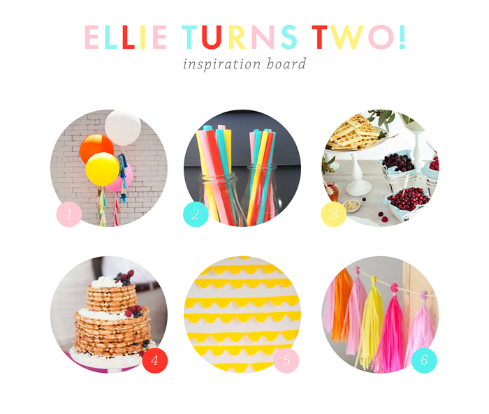 Two year old party inspiration board, colorful party,