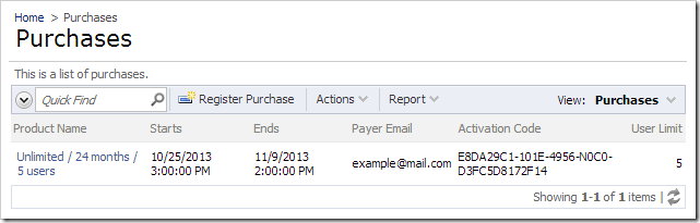 """The """"Purchases"""" page displays a list of purchases associated with the account."""